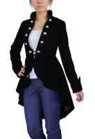 Plus Size Black Gothic Flocking Velvet Asymmetry Jacket