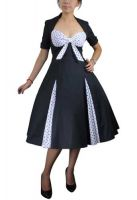 Plus Size Black and White Retro Polka Dot Swing Dress