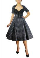 Plus Size Black Retro Polka Dot Swing Dress