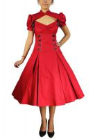 Plus Size Red Gothic Lace-up Ruffles Dress