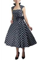 Plus Size Polka Dot Retro Rockabilly Swing Belted Pleat Dress