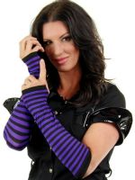 Purple & Black Opaque Stripes Arm Warmers