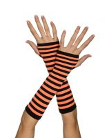 Orange & Black Opaque Stripes Arm Warmers