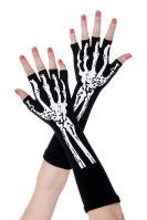 Black and White Halloween Short Print Skeleton Gloves