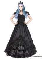 Sinister Gothic Plus Size Black Mesh Ruffled Lace & Satin Roses Long Renaissance Ballgown Skirt