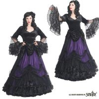 Sinister Gothic Plus Size Black & Purple Mesh Ruffled Lace & Satin Roses Long Renaissance Ballgown Skirt