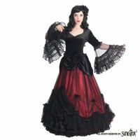 Sinister Gothic Plus Size Black & Bordeaux Red Mesh Ruffled Lace & Satin Roses Long Renaissance Ballgown Skirt
