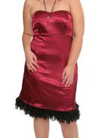 Torrid Raspberry Satin Burlesque Retro Feather Hem Dress