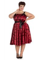 Hell Bunny Plus Size Gothic Red Tattoo Flock Rockabilly Dress