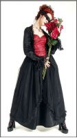 Eternal Love Scarlet Gothic Crucifix+ Roses Belle Dame