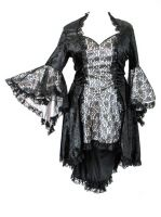 Eternal Love Plus Size Pewter Silver Gothic Gwendolyn Dress Taffeta Lace
