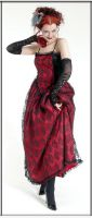 Eternal Love Gothic Scarlet Taffeta Lace Party Dress