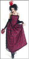 Eternal Love Gothic Wine Taffeta Lace Party Dress