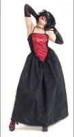 Eternal Love Scarlet Crucifix and Roses Party Dress