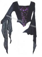 Dark Star Gothic Purple Black Velvet Spider Web Lace Winged Top