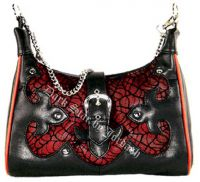 Dark Star Red Gothic Cobweb Net/PVC Purse