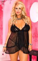 Plus Size 2 Pc Ruffled Soft Mesh Baby Doll w Thong