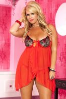 Plus Size Red & Black Mesh Underwire Mini Dress w/ front & Back Slits & G-String 1X/2X or 3X/4X