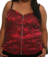 Torrid Deep Red Vampire Brocade Zip Front Gothic Corset Top