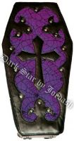 Dark Star Purple Gothic PVC Coffin Cross Backpack Purse