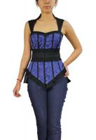 Plus Size Black and Blue Gothic Lace Bustier Top