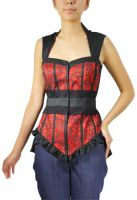 Plus Size Red and Black Gothic Lace Bustier Top