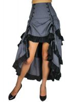 Plus Size Gothic Grey Pinstripe Three Tiered Tail-skirt