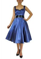 Plus Size Blue and Black Satin Retro Rockabilly Dress