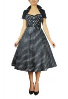 Plus Size Retro Polka Dot Black Rockabilly Flare Dress w Shrug