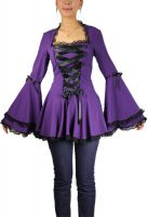 Plus Size Purple Gothic Corset Ribbon Lace Top