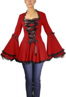 Plus Size Red Gothic Corset Ribbon Lace Top