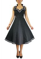 Plus Size Retro Black and Polka Dot Rockabilly Ruffle Halter Dress