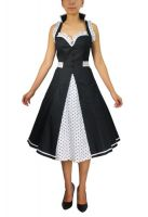 Plus Size Retro White Black and Polka Dot Rockabilly Ruffle Halter Dress