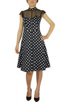 Plus Size Black and Polka Dot Retro Lace Doll Dress