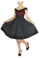 Plus Size Burgundy and Black Polka Dot Retro Rockabilly Dress