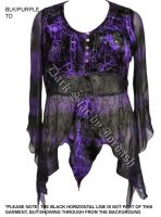 Dark Star Purple Black Gothic Velvet Georgette Mesh Renaissance