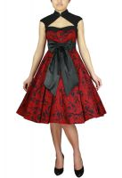 Plus Size Red and Black Printed Archaize Pinup Dress