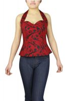 Plus Size Red and Black Printed Rockabilly Halter Top