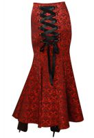 Plus Size Jacquard Gothic Long Red Corset Fishtail Skirt