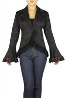 Plus Size Black Gothic Lace Trim Corset Jacquard Jacket