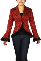 Plus Size Red Gothic Lace Trim Corset Jacquard Jacket
