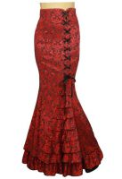 Plus Size Jacquard Red Gothic Fishtail Ruffles Skirt