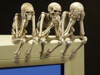 See, Speak, and Hear No Evil Skeleton Shelf Sitters