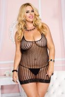 Plus Size Black Halter Neck Pothole Mini Dress