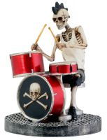 Skull Punk Skeleton Drummer with Mohawk