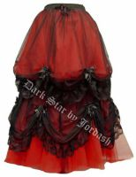 Dark Star Long Red and Black Satin Roses Gothic Fairytale Skirt