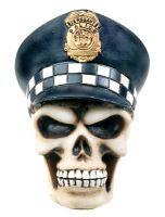 Copper Skull Police Skeleton Figurine