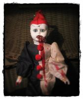 Evil Scary Vampire Clown Art Creepy Horror Doll by Bastet2329