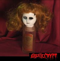 Bottle Doll w One Eye Vintage Label Creepy Horror Doll by Bastet
