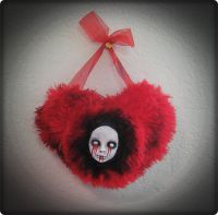 Plush Red Bloody Hanging Heart Doll Face by Bastet2329